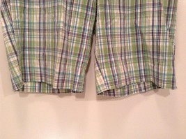 Green and Blue Plaid Casual Shorts Size 16 Kim Rogers Front and Back Pockets image 3