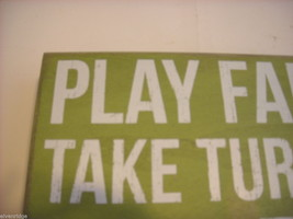 Green Wooden Box Sign Play Fair Take Turns Share Saying image 3