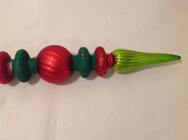 Green and Red Blown Glass Long Finial Christmas Ornament with Sparkles image 4