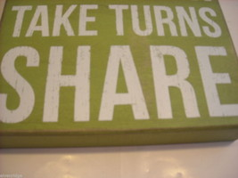 Green Wooden Box Sign Play Fair Take Turns Share Saying image 4
