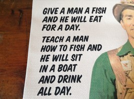 Green and Brown Fiddlers Elbow Dish Towel with Fishing Joke Made in USA image 3