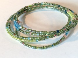 Green and Blue Shiny Beaded Adjustable Size Coil Bracelet image 2