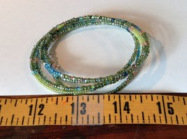 Green and Blue Shiny Beaded Adjustable Size Coil Bracelet image 3