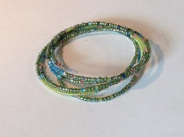 Green and Blue Shiny Beaded Adjustable Size Coil Bracelet image 4