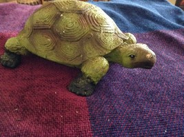 Green and brown garden turtle small weathered look  5 inches long image 2