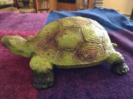 Green and brown garden turtle small weathered look  5 inches long image 4