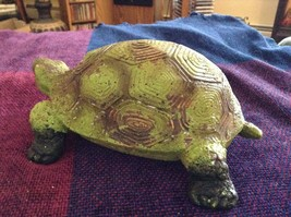 Green and brown garden turtle small weathered look  5 inches long image 5