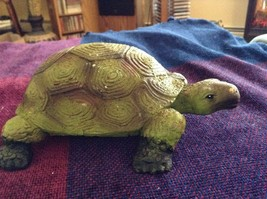 Green and brown garden turtle small weathered look  5 inches long image 7