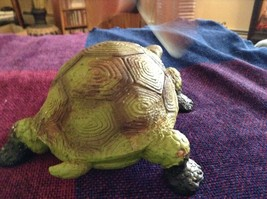 Green and brown garden turtle small weathered look  5 inches long image 6