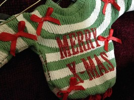 Green and White Striped Merry Christmas Ugly Sweater Ornament Red Bows Red Trim image 2