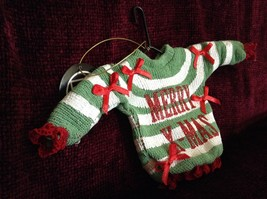 Green and White Striped Merry Christmas Ugly Sweater Ornament Red Bows Red Trim image 3