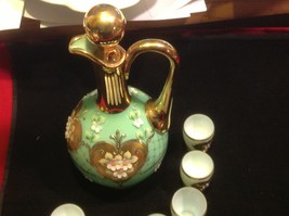Green white layered glass hand painted flower gold Czech tea or chocolate set image 4