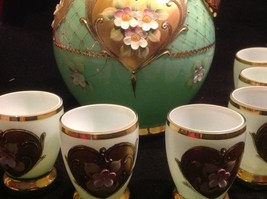 Green white layered glass hand painted flower gold Czech tea or chocolate set image 7