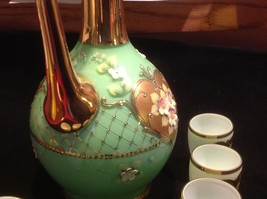 Green white layered glass hand painted flower gold Czech tea or chocolate set image 8