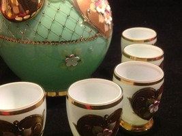 Green white layered glass hand painted flower gold Czech tea or chocolate set image 9