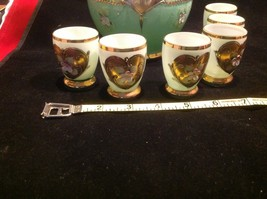Green white layered glass hand painted flower gold Czech tea or chocolate set image 3