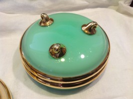 Green white layered glass hand painted flower gold Czech bisquit bowl mid 1900s image 6