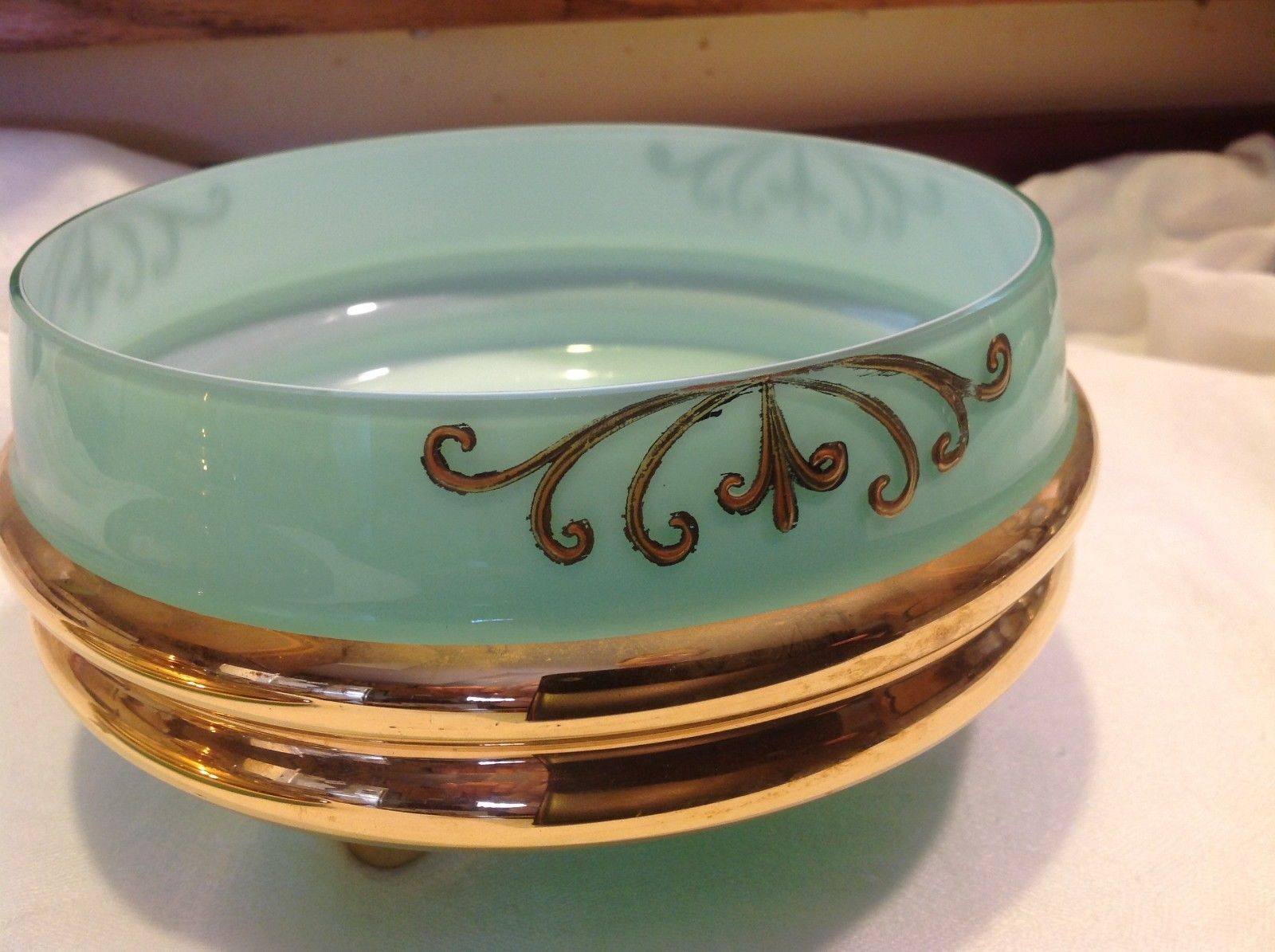 Green white layered glass hand painted flower gold Czech bisquit bowl mid 1900s