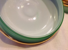 Green white layered glass hand painted flower gold Czech bisquit bowl mid 1900s image 3