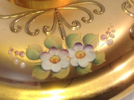 Green white layered glass hand painted flower gold Czech bisquit bowl mid 1900s image 4