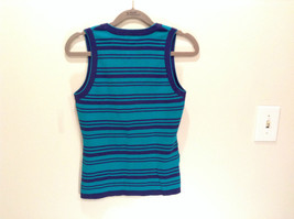 Green with Blue Stripes Ann Taylor Knitted Sleeveless Top Size Small Scoop Neck image 3