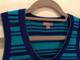 Green with Blue Stripes Ann Taylor Knitted Sleeveless Top Size Small Scoop Neck image 2