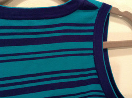 Green with Blue Stripes Ann Taylor Knitted Sleeveless Top Size Small Scoop Neck image 4
