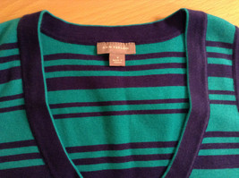 Green with Blue Stripes Ann Taylor Knitted Sleeveless Top Size Small Scoop Neck image 6