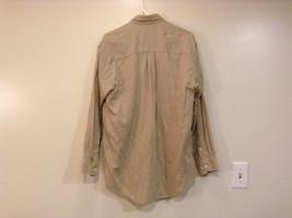 Joseph and Lyman Long Sleeve Button Front Beige Shirt Herringbone Pattern Size S image 2