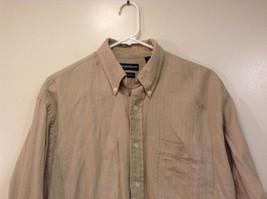 Joseph and Lyman Long Sleeve Button Front Beige Shirt Herringbone Pattern Size S image 3