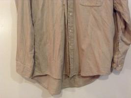 Joseph and Lyman Long Sleeve Button Front Beige Shirt Herringbone Pattern Size S image 4