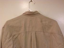 Joseph and Lyman Long Sleeve Button Front Beige Shirt Herringbone Pattern Size S image 7