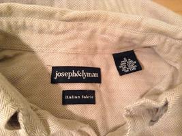 Joseph and Lyman Long Sleeve Button Front Beige Shirt Herringbone Pattern Size S image 9