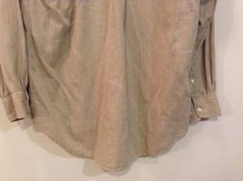 Joseph and Lyman Long Sleeve Button Front Beige Shirt Herringbone Pattern Size S image 8