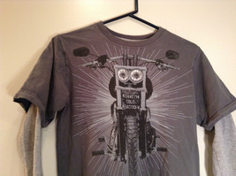 Kenneth Cole Reaction Gray Long Sleeve Graphic Shirt Size M 100 Percent Cotton image 2