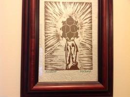 Guatemala artist woodcut framed hand made paper rustic primitive Amanecer image 2