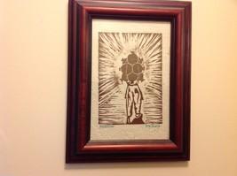 Guatemala artist woodcut framed hand made paper rustic primitive Amanecer image 6