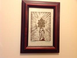 Guatemala artist woodcut framed hand made paper rustic primitive Amanecer image 5