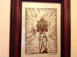 Guatemala artist woodcut framed hand made paper rustic primitive Amanecer image 3