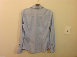 H&M Light Blue White Stripe Pattern long sleeve Blouse Shirt, size 8 image 3