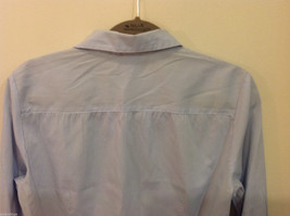 H&M Light Blue White Stripe Pattern long sleeve Blouse Shirt, size 8 image 4