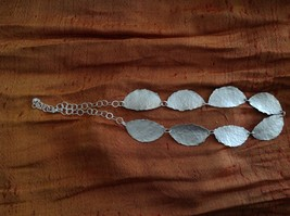 Hammered Silver light weight Zina Kao Leaf Necklace Hand made in California image 5