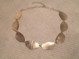 Hammered Silver light weight Zina Kao Leaf Necklace Hand made in California image 6