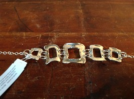 Hammered Square Pattern Chain Handcrafted 925 Sterling Silver Bracelet image 2