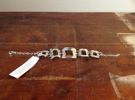 Hammered Square Pattern Chain Handcrafted 925 Sterling Silver Bracelet image 3