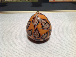 Hand Carved Art Ornament Peruvian Gourd with Leaves Eco Sustainable Fair Trade image 3