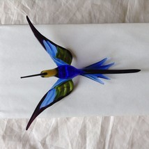 Hand Blown Hummingbird Bee eater Window Ornament w cobalt blue  #1 image 7