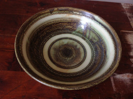 Hand Crafted Artisan Ceramic Bowl Light Green and Brown Pattern 1995 image 4