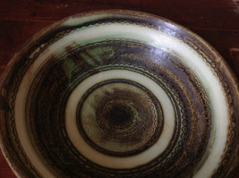 Hand Crafted Artisan Ceramic Bowl Light Green and Brown Pattern 1995 image 3