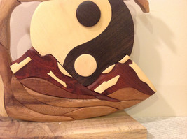 Hand Carved Grained Wood Ying  Yang Ornament Sign Brown image 2